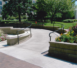 A ramp on the campus mall.