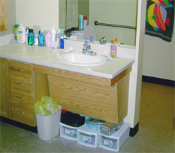 The sink allows for easy wheelchair access.