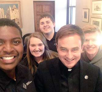 Fr. Hendrickson's first day on campus as president