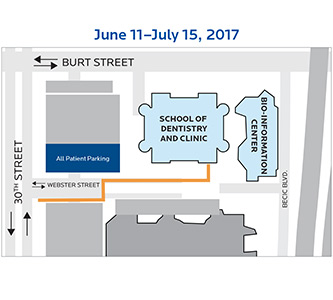 With some parking and access changes, Creighton Dental Clinic remains open during construction