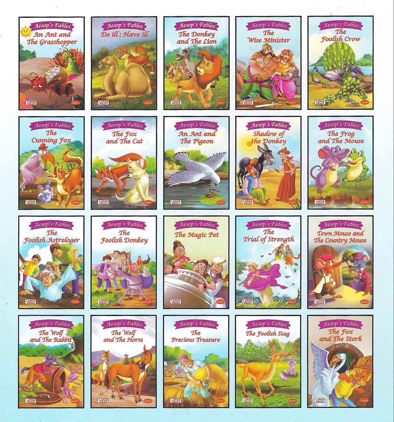 A List Of Fables And Their Morals creighton university :: aesop's fables: shanti large print